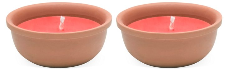 S/2 Terracotta Candle Pots, Red