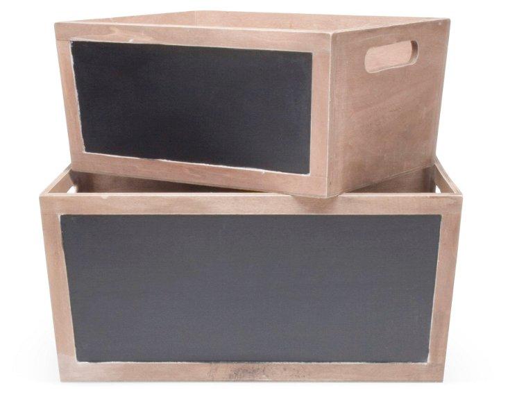 S/2 Chalkboard Wooden Bins