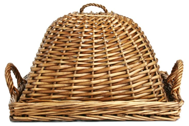 "15"" Willow Dome-Covered Tray, Brown"