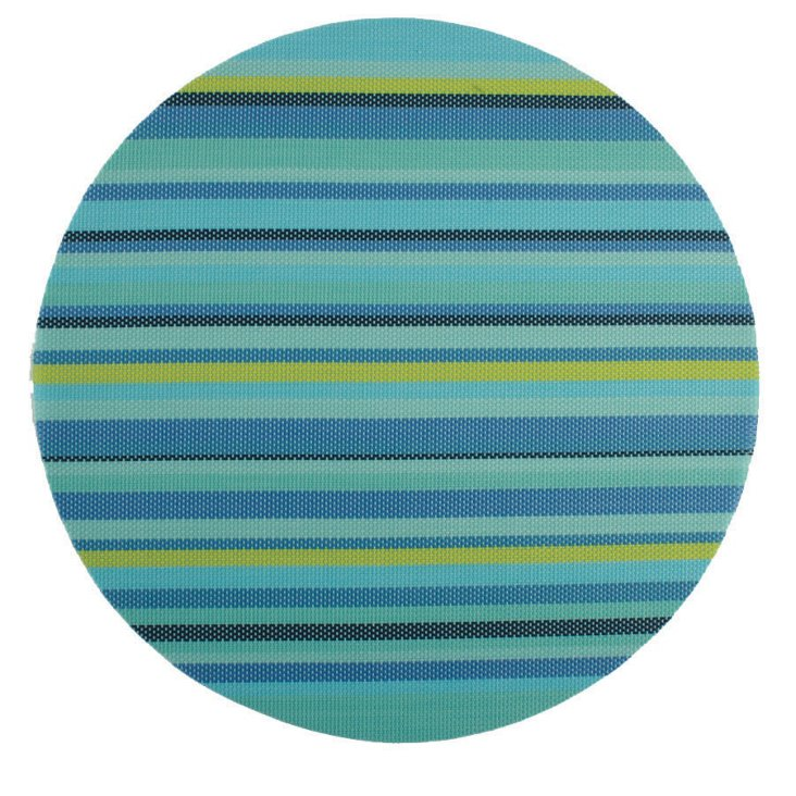 S/4 Stripe Round Place Mats, Teal