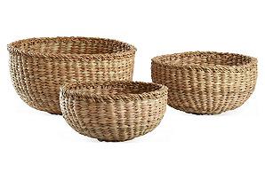 Asst. of 3 Round Sea-Grass Baskets