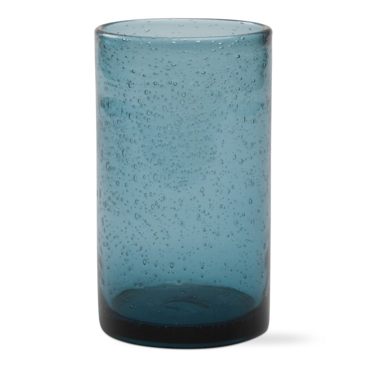 S/4 Bubble-Glass Highball Glasses, Teal