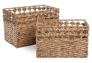 S/2 Knotted Rim Hyacinth Baskets