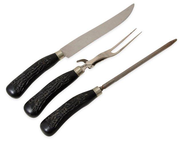Black Resin Horn Cutlery Set, 3 Pcs.