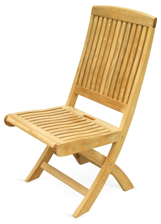 S/2 Teak Folding Side Chairs
