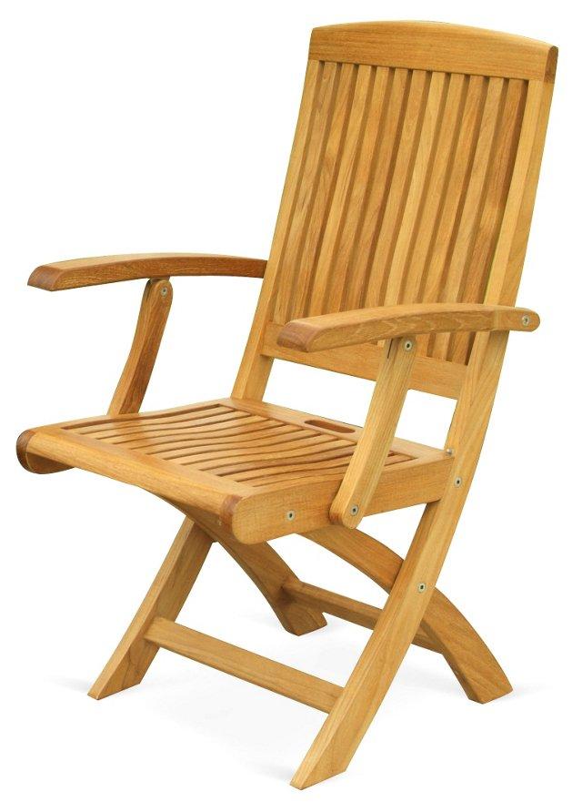 Teak Folding Armchairs. Pair