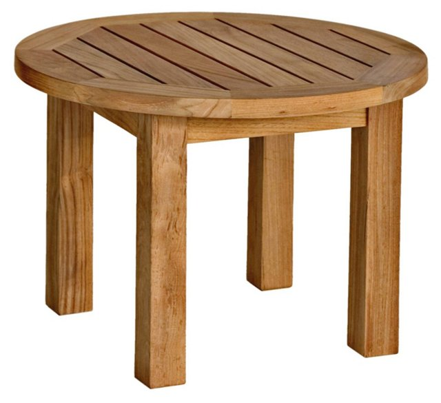 Teak Low Round Side Table
