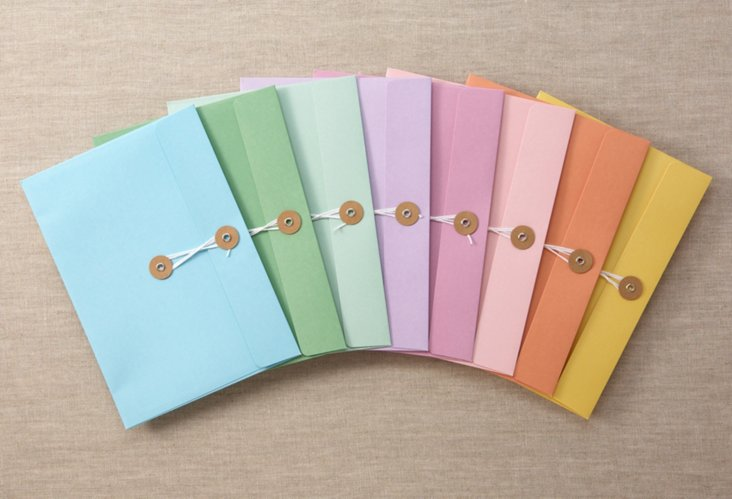 S/8 Colourful String & Tie Envelopes