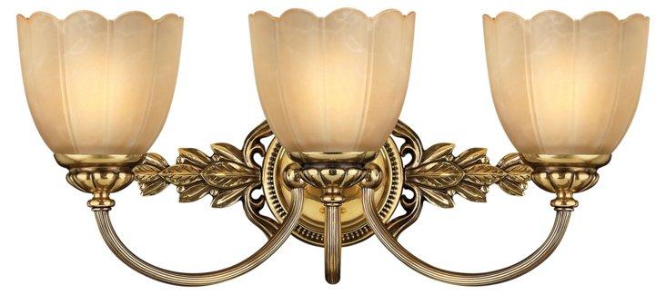 Isabella 3-Light Vanity, Burnished Brass