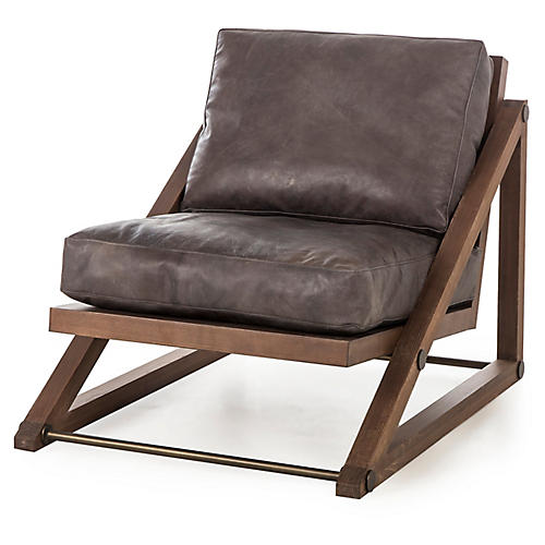 Teddy Accent Chair, Tobacco Leather