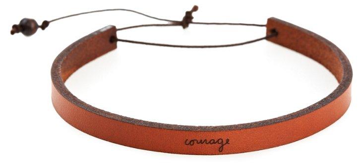 'Courage' Adjustable Leather Bracelet