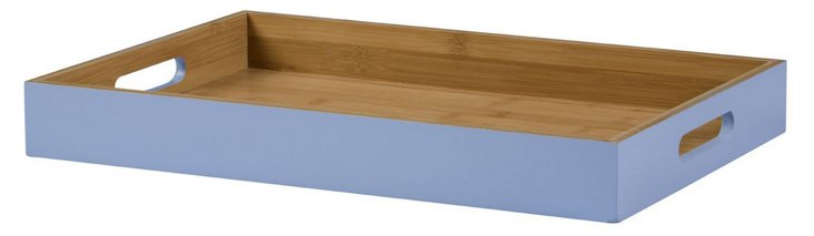 Lacquer Bamboo Serving Tray, Blue