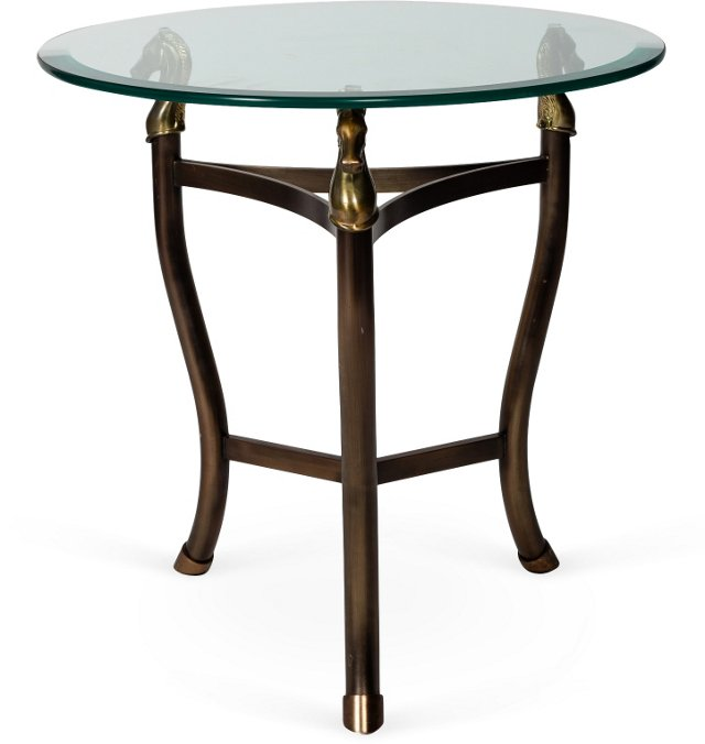 Brass Horse Table w/ Glass Top