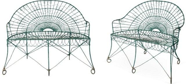 French Iron Benches, Pair
