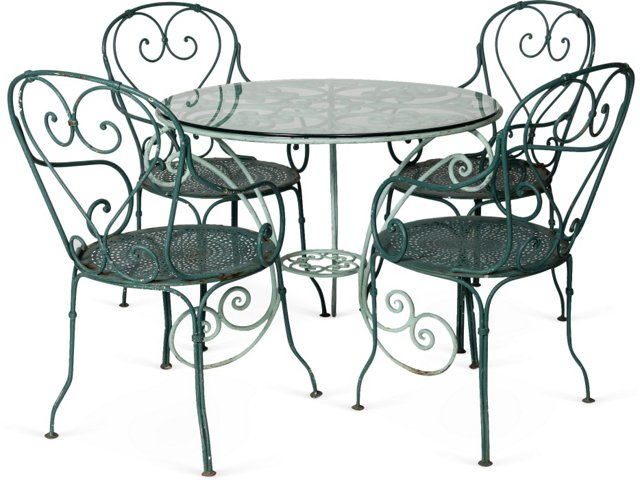 French Iron Garden Table w/ Chairs