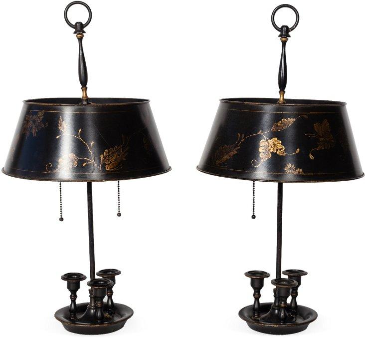 Antique Bouillotte Lamps, Pair