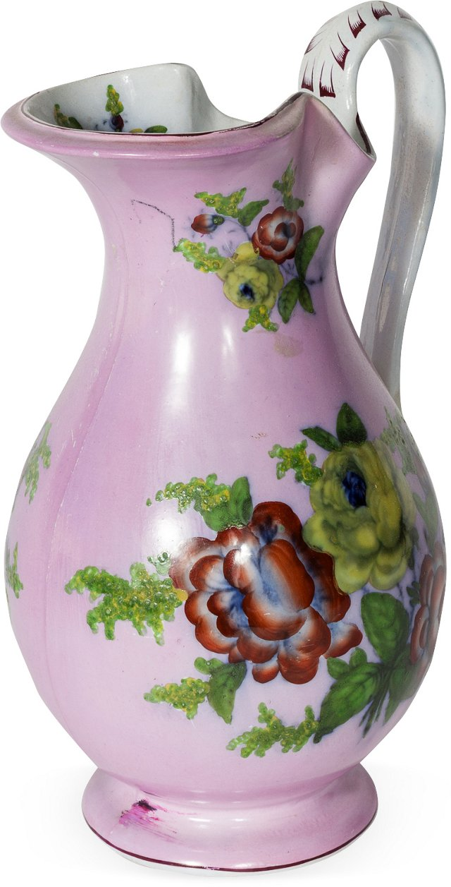 English Floral Porcelain Pitcher