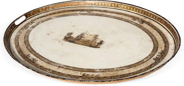 19th-C. Cream Tole English Tray