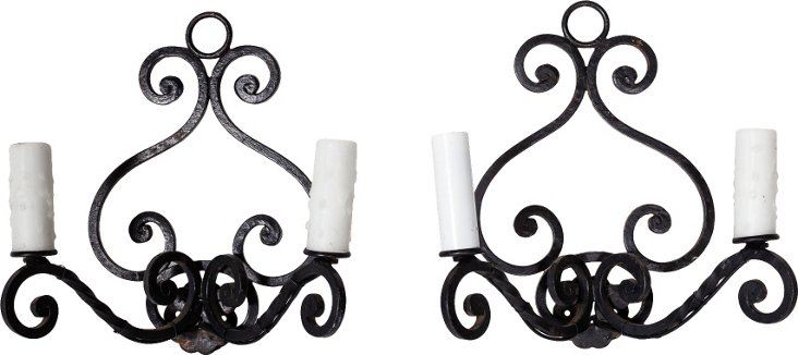 French Iron Wall Sconces, Pair II