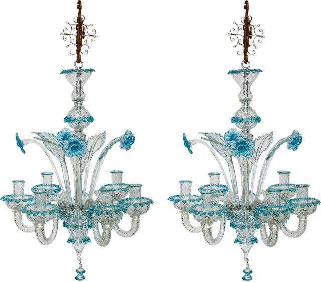 Murano Glass Chandeliers, Pair