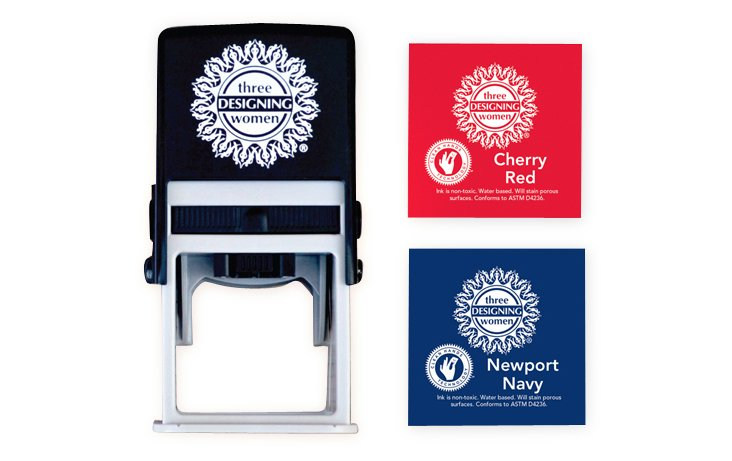 Custom Stamp with Blue & Red Inkpad