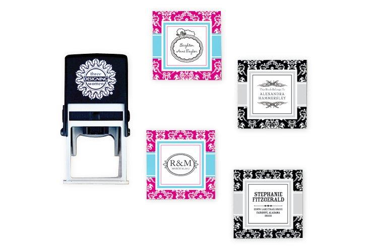 Custom Stamp & Pink/Black Damask Set