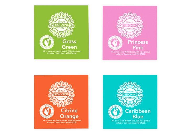 S/4 Inkpads, Blue, Pink, Green & Orange