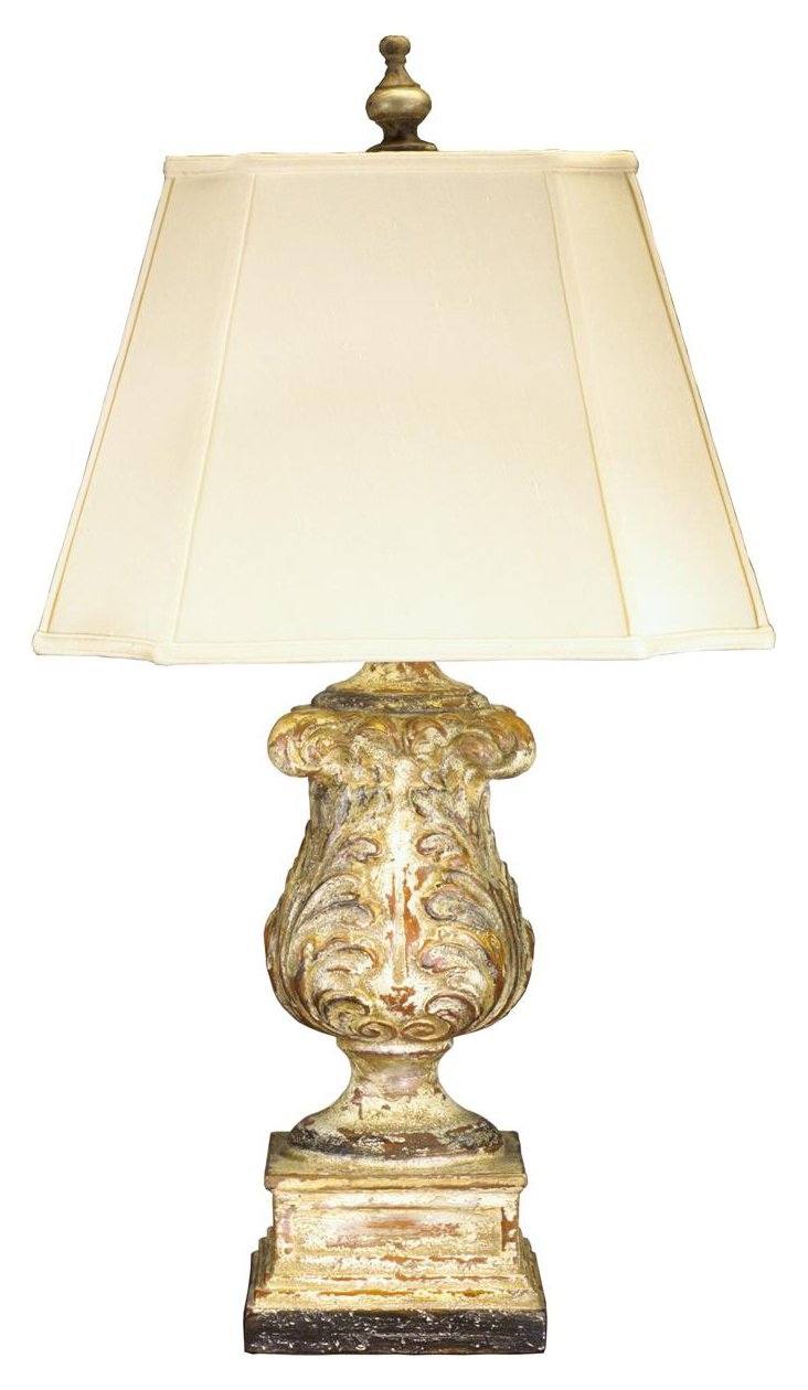 Aged Acanthus Table Lamp, Caramel