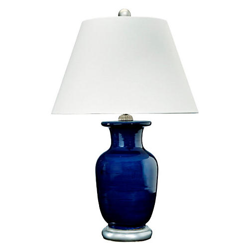 Capitan Table Lamp, Navy/Silver
