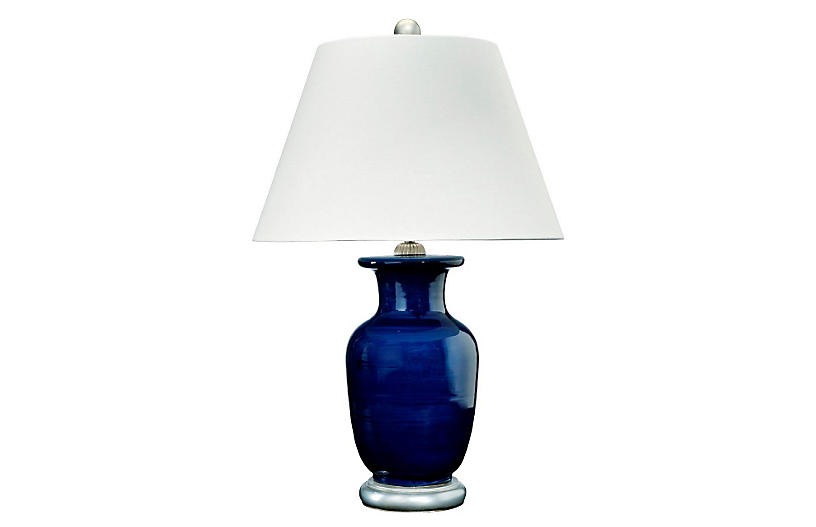 Capitan Table Lamp, Navy/Silver