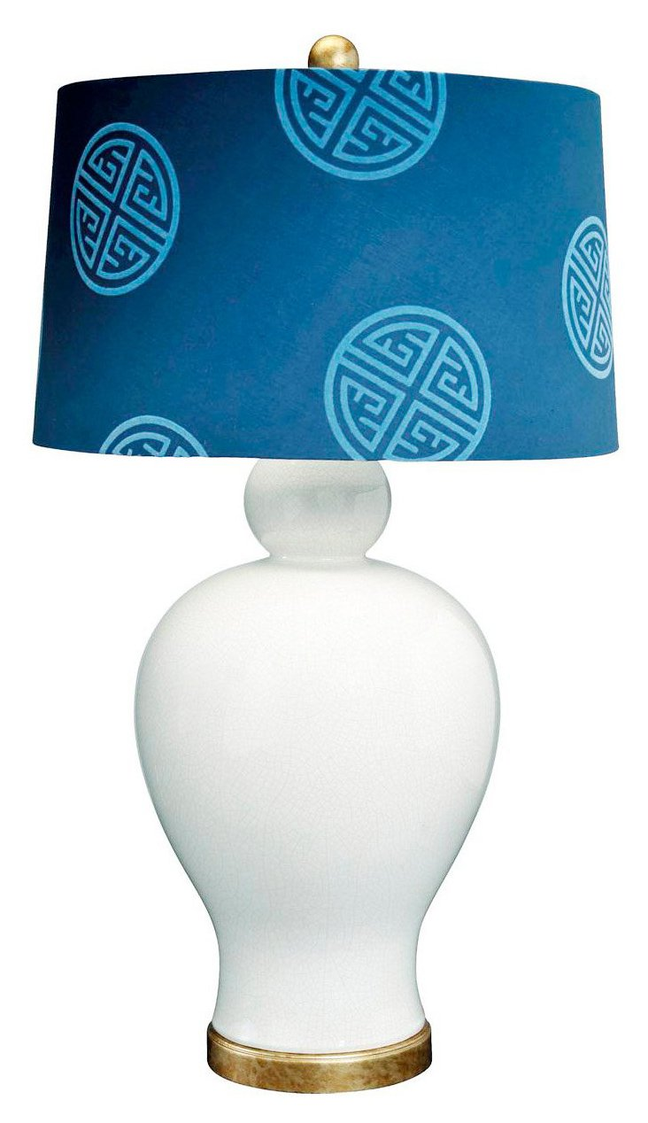 Pacific Realm Table Lamp, White/Navy