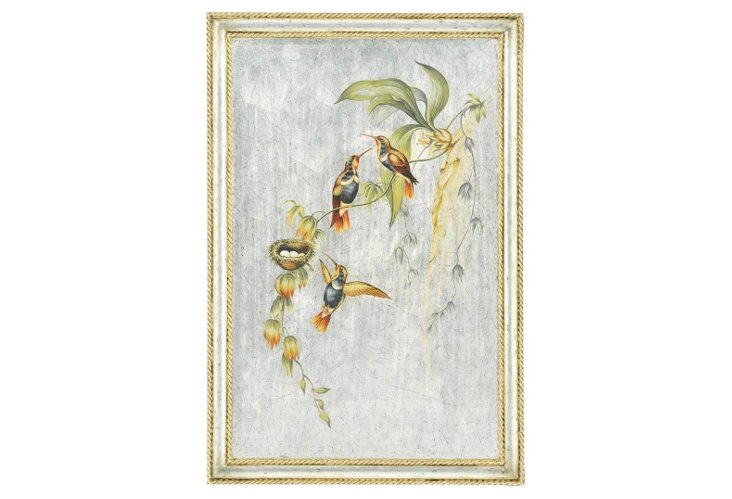 Hummingbird Silver and Gold Panel, Right