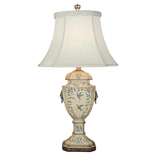 Jayla Table Lamp, Cream/Blue