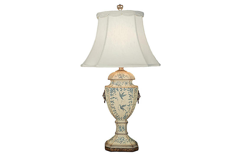 Jayla Table Lamp, Cream/Blue