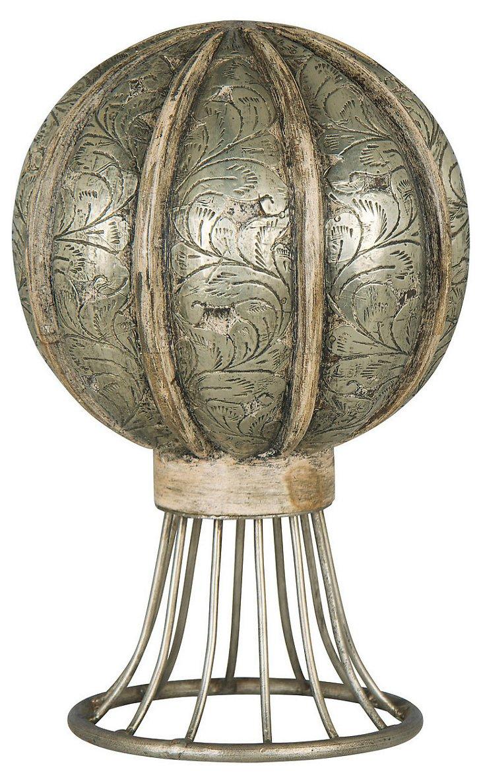 """12"""" Wood & Metal Sphere Objet"""