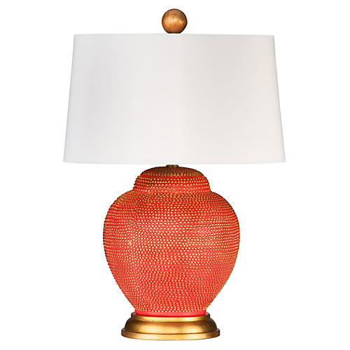 Katrina Table Lamp, Orange/Gold Leaf