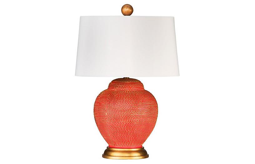 Katrina Table Lamp, Orange/Gold Leaf