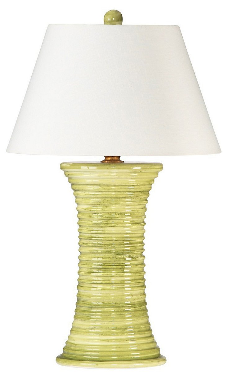 Venetian Table Lamp, Green/Cream
