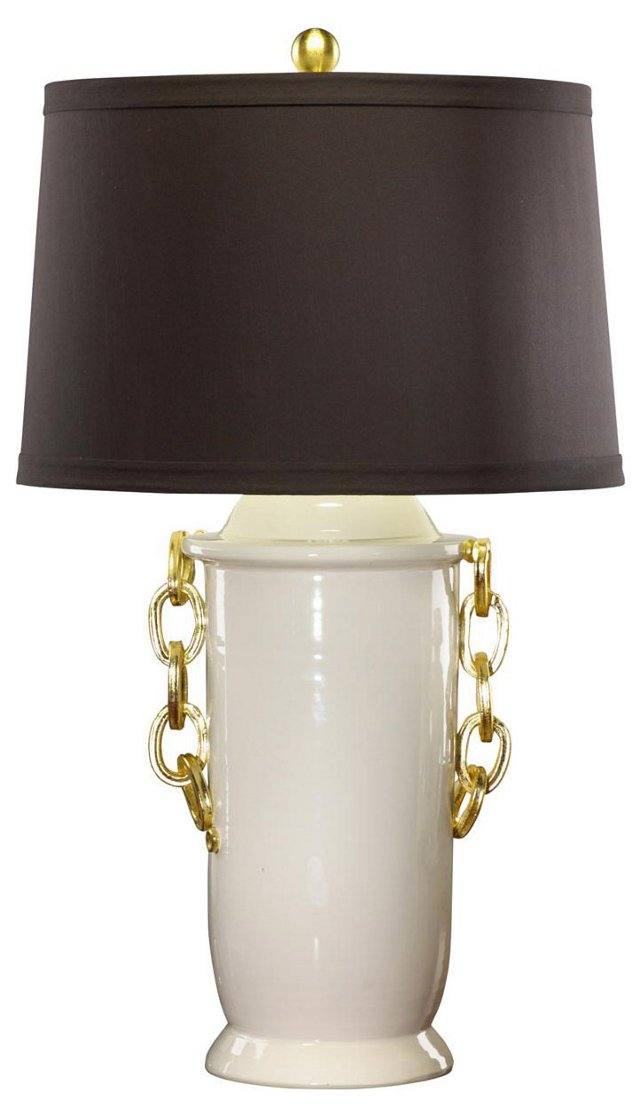Chanel Table Lamp, Cream/Gold Leaf