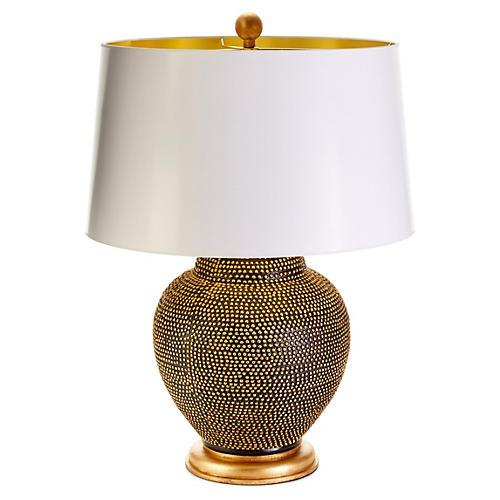 Katrina Knight Table Lamp, Black/Gold