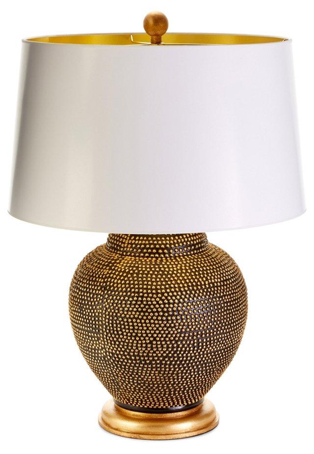 Kismet Table Lamp, Black/Gold Leaf