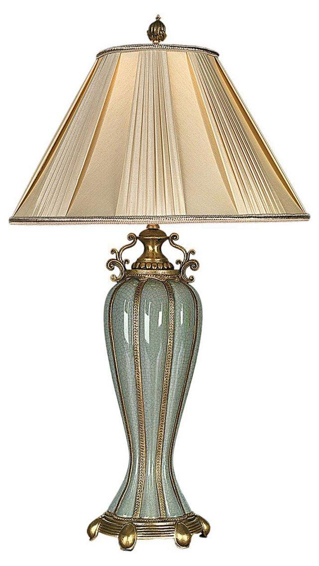 Gallica Table Lamp, Celadon/Brass