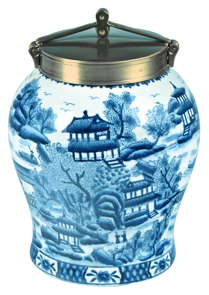 """10"""" Silk Road Ginger Jar, Blue"""