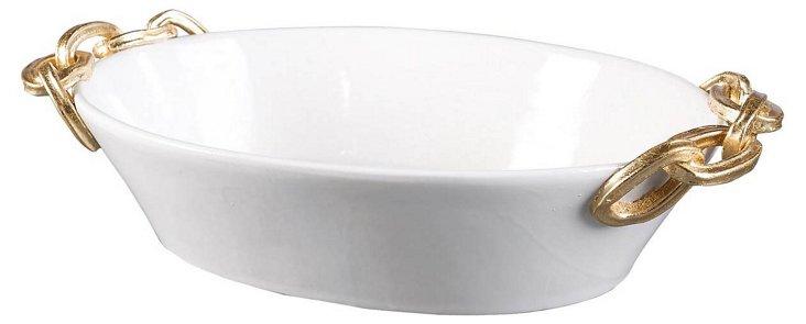 "19"" Italian Chanel Bowl, White"