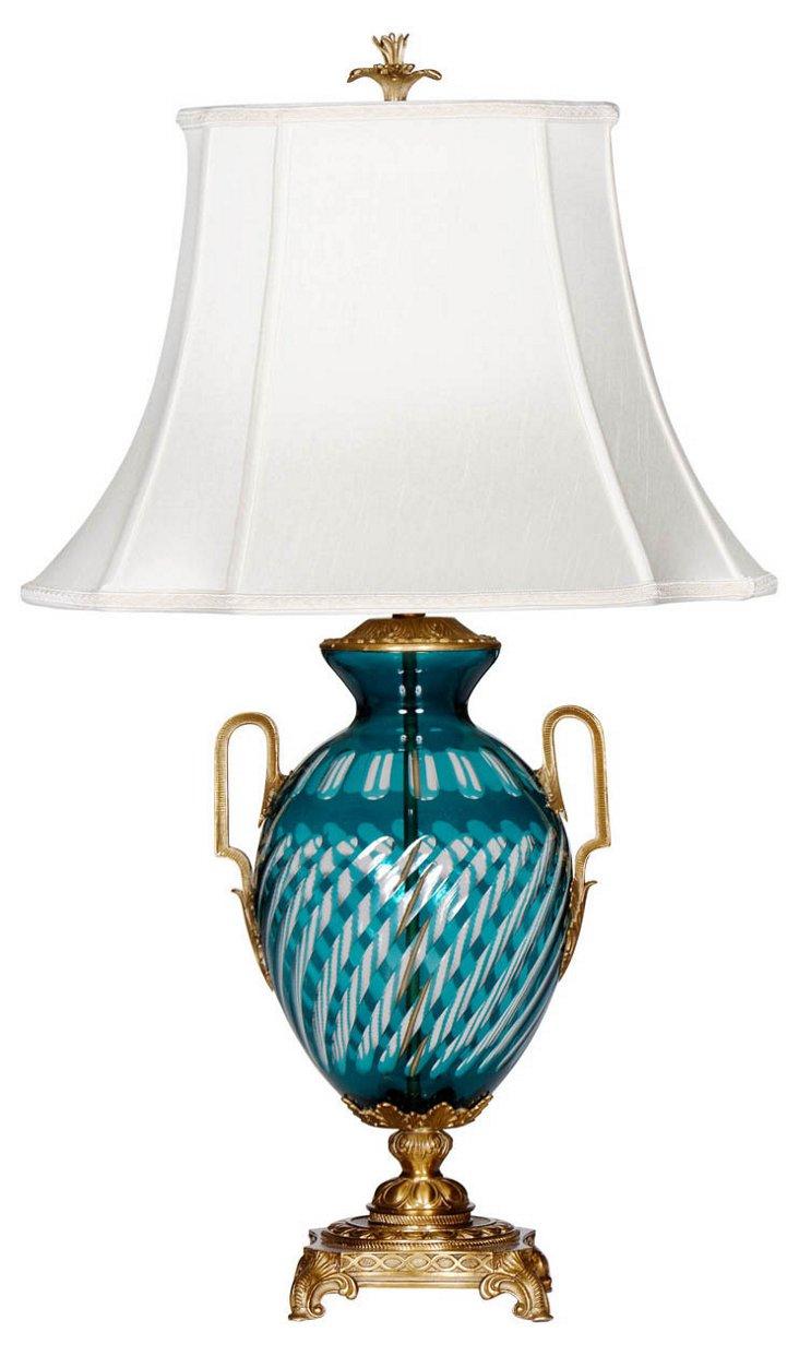 Tealpointe Table Lamp, Teal Cut Glass