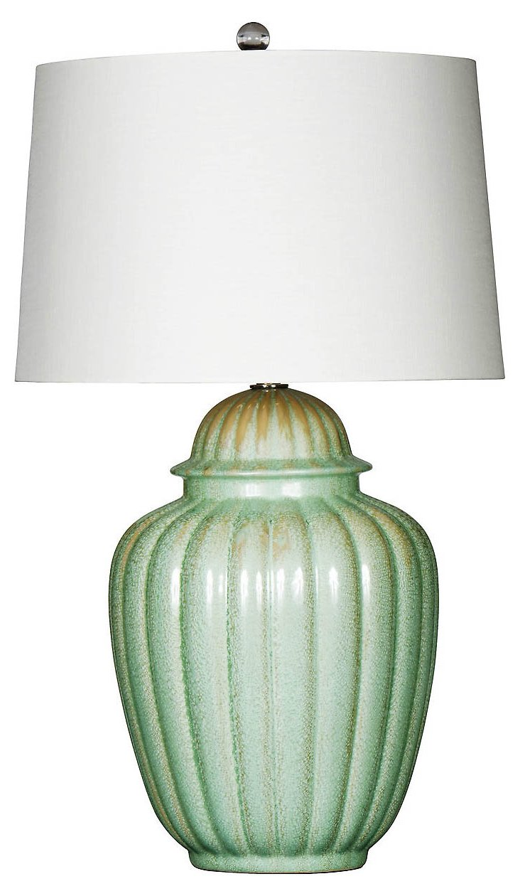 Seafoam Pearl Table Lamp, Green Glaze