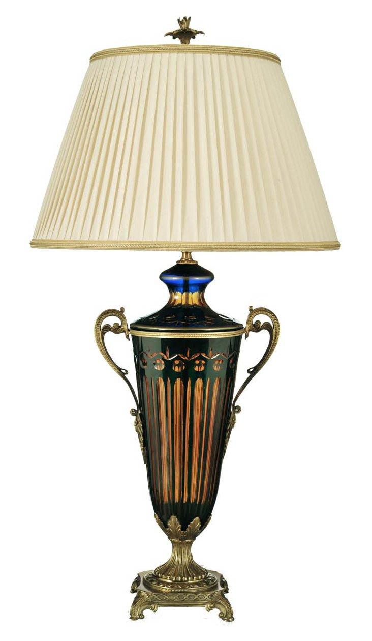 Atheneum Table Lamp, Cobalt/Amber/Brass