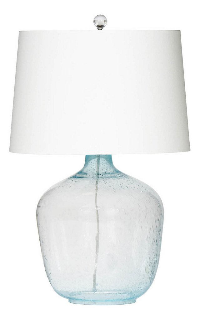 Breakwater Table Lamp, Aqua Seeded Glass