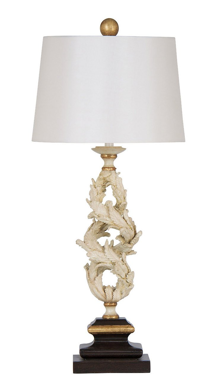 St. Tropez Twist Lamp, Cream/Gold Leaf