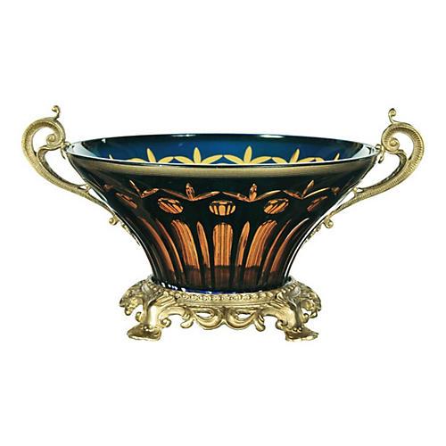 Versailles Bowl, Cobalt/Amber/Brass